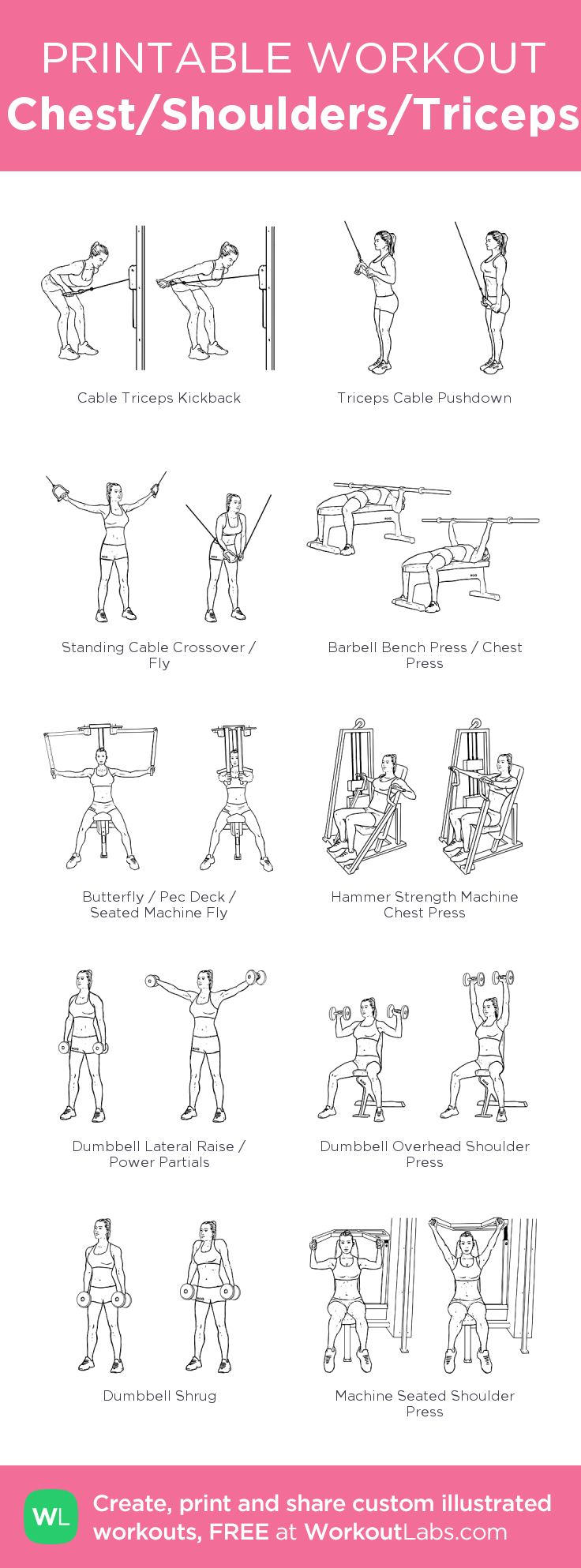 Chest/Shoulders/Triceps: my visual workout created at WorkoutLabs.com • Click through to customize and download as a FREE PDF! #customworkout