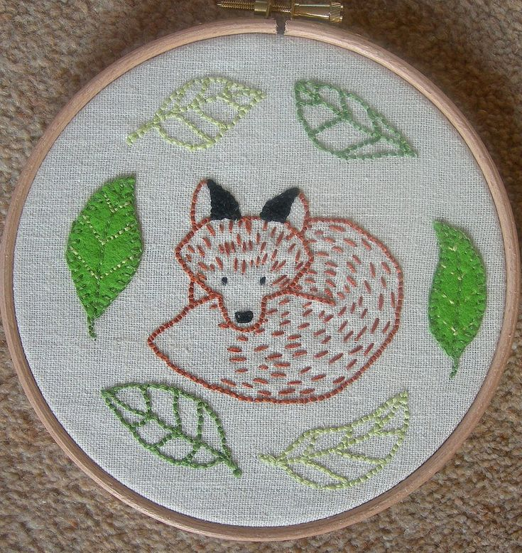 3 simple woodland animals patterns developed for a intro to embroidery workshop.