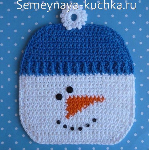 прихватка-снеговик крючком