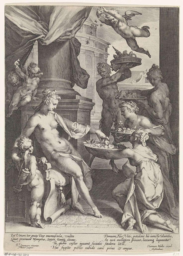 Venus geëerd door de nimfen, Jan Harmensz. Muller, Harmen Jansz Muller, 1589 - 1593
