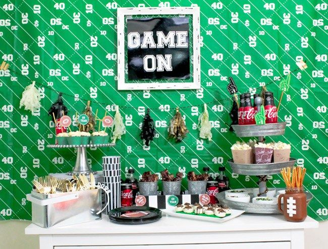 Football Party food table with ribs & slaw! YUM-See more Football party details at B. Lovely Events