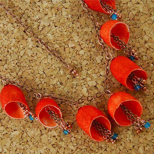 Orange Silk Cocoon Necklace