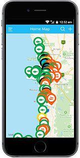 Fishlocator app map of pins