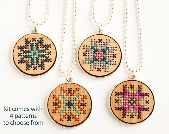 DIY Cross Stitch Necklace // Embroidered Wood by RedGateStitchery