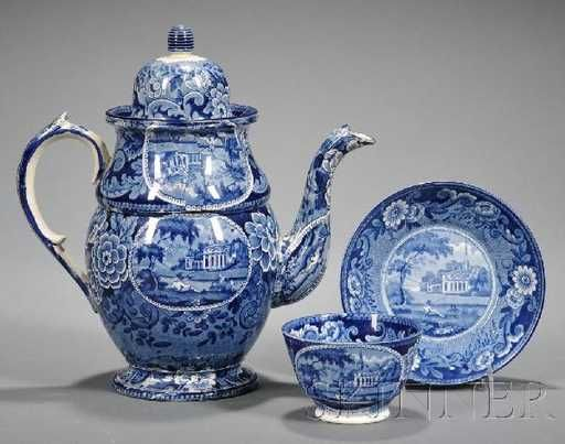 Lot: 780: Historical Blue Transfer-decorated Coffeepot and H, Lot Number: 0780, Starting Bid: $400, Auctioneer: Skinner , Auction: American Furniture & Decorative Arts, Date: November 7th, 2010 EST