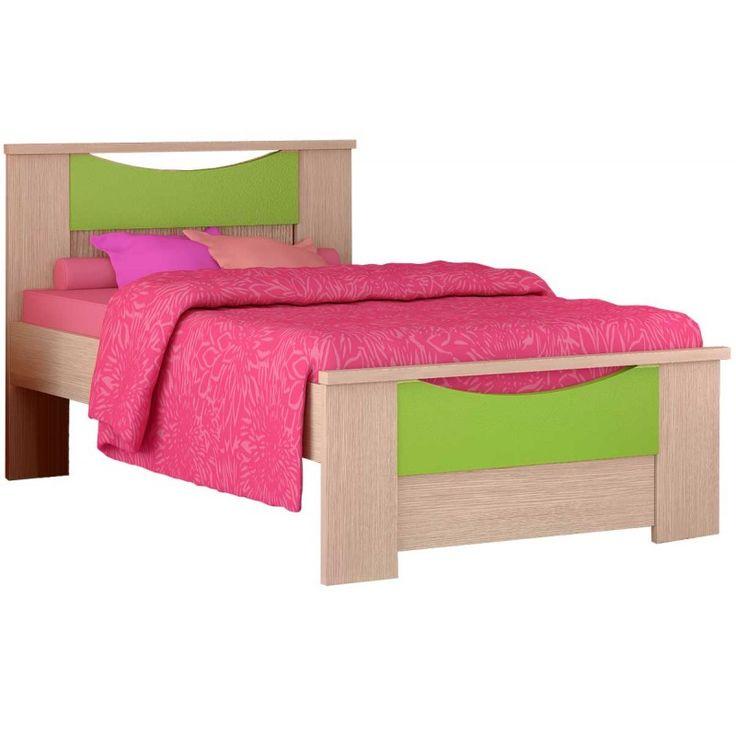 """Παιδικό κρεβάτι μονό """"ΧΑΜΟΓΕΛΟ"""" δρυς-λαχανί 90x190εκ."""