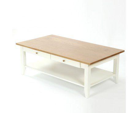 Drewniany stolik kawowy z szufladami Fabiano, wykonany z drewna dębowego oraz bukowego. Blat szczotkowany zabezpieczony naturalnym olejem