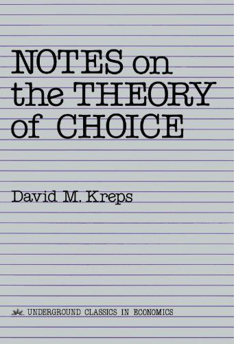In this book, Professor Kreps presents a course on the basic models of choice theory that underlie much of economic theory. This course, taught for several years at the Graduate School of Business, Stanford University, gives the student an introduction to the axiomatic method of economic analysis, without placing too heavy a demand on mathematical sophistication.The course begins with the basics of choice and revealed preference theory. Models with uncertainty come next.