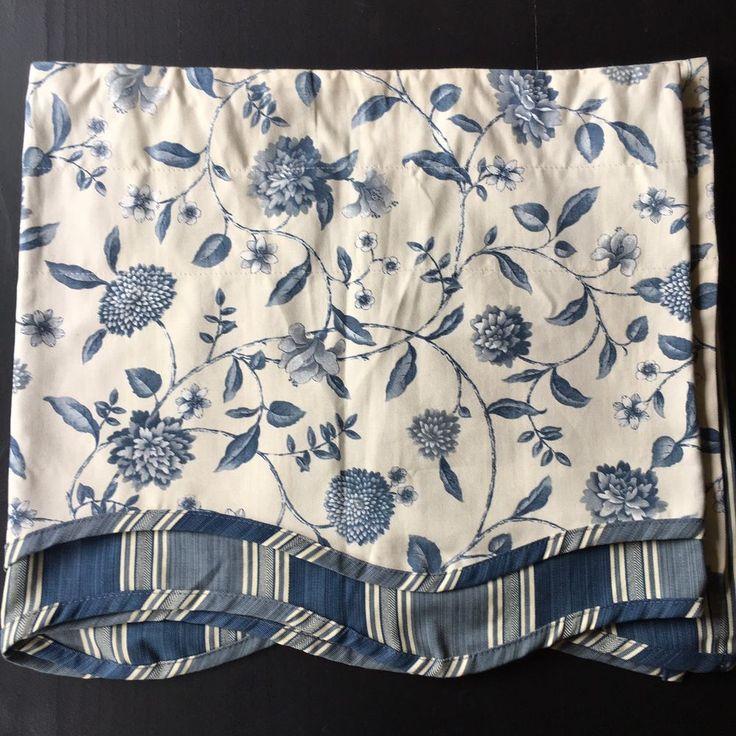 Waverly Valance Fairfield Blue White Floral Stripe 78 x 17 | eBay