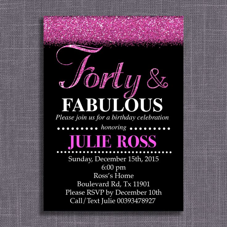 15 best Fabulous birthday party ideas for adults images on – Personalized 40th Birthday Invitations