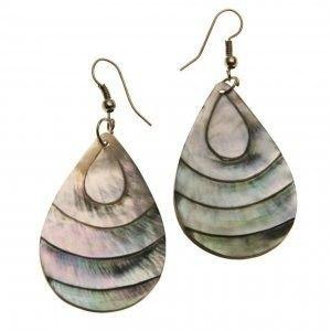 Náušnice perleť Slza moře 42 mm originální etno šperky