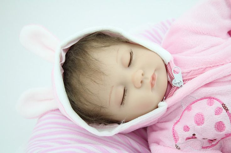 Reborn Baby Doll Lifelike Silicone Vinyl Real Looking Baby Doll Rooted Mohair