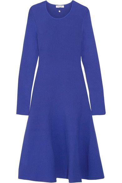 Mugler - Fluted Stretch-knit Dress - Bright blue - FR42