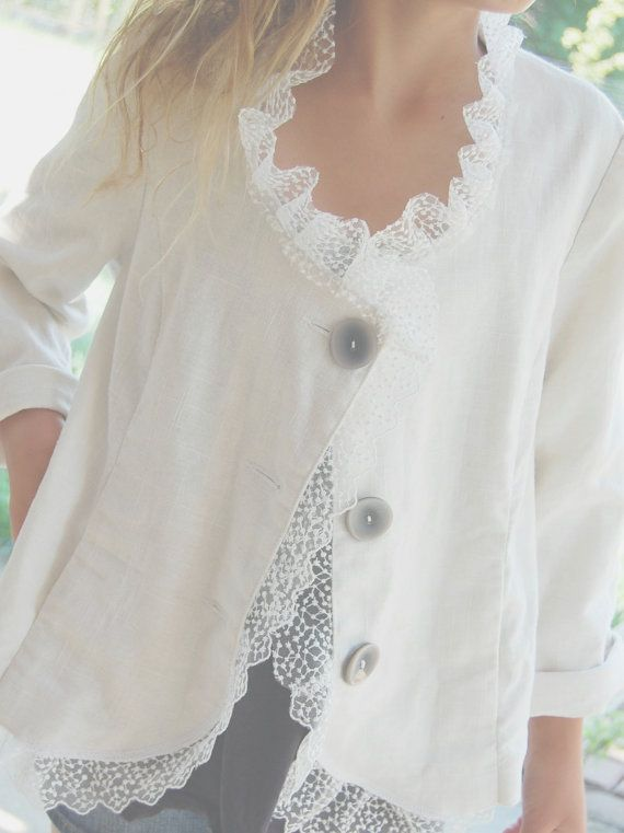 Upcycled Clothing Linen Jacket Blazer Sale White by OfLinenandLace