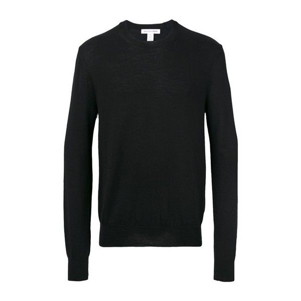 COMME DES GARCONS SHIRT Crew Neck Sweater (€275) ❤ liked on Polyvore featuring men's fashion, men's clothing, men's sweaters, black, mens woolen sweaters, mens wool sweaters, mens crew neck sweaters, mens crewneck sweaters and men's wool crew neck sweaters
