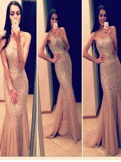 Long Custom Prom Dress,Champagne prom dress, Beading strapless prom dress, Glitter prom dress, Sparkly dress, Evening Party dress. PD2108
