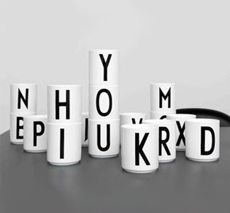 Alphabet Mugs--- Beautiful typography from world famous Danish architect Arne Jaconsen (1902-1971) decorates these mugs for your morning brew. The font was originally created for the Aarhus, Denmark City Hall in 1937, and can still be seen on signs in the city today.