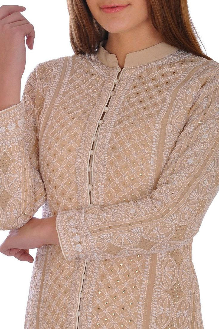 Champagne Hand Embroidered Chikankari With Kamdaani Jacket Suit