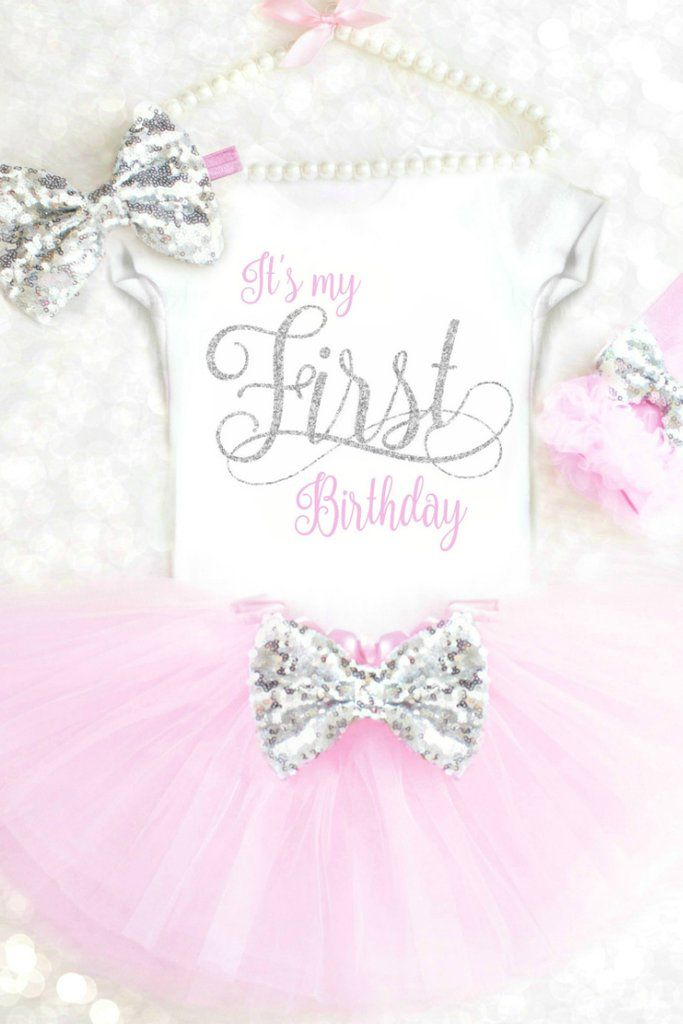 1c9ac408f9 First Birthday Outfit Girls 1st Birthday Outfit Pink and Silver Its my First  Birthday Onesie First Birthday Tutu Outfit Cake Smash Outfit ...