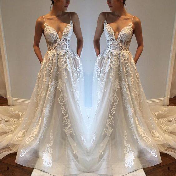 Spaghetti Long A-line White Lace Organza Gorgeous Wedding Party Dresses, BG0143