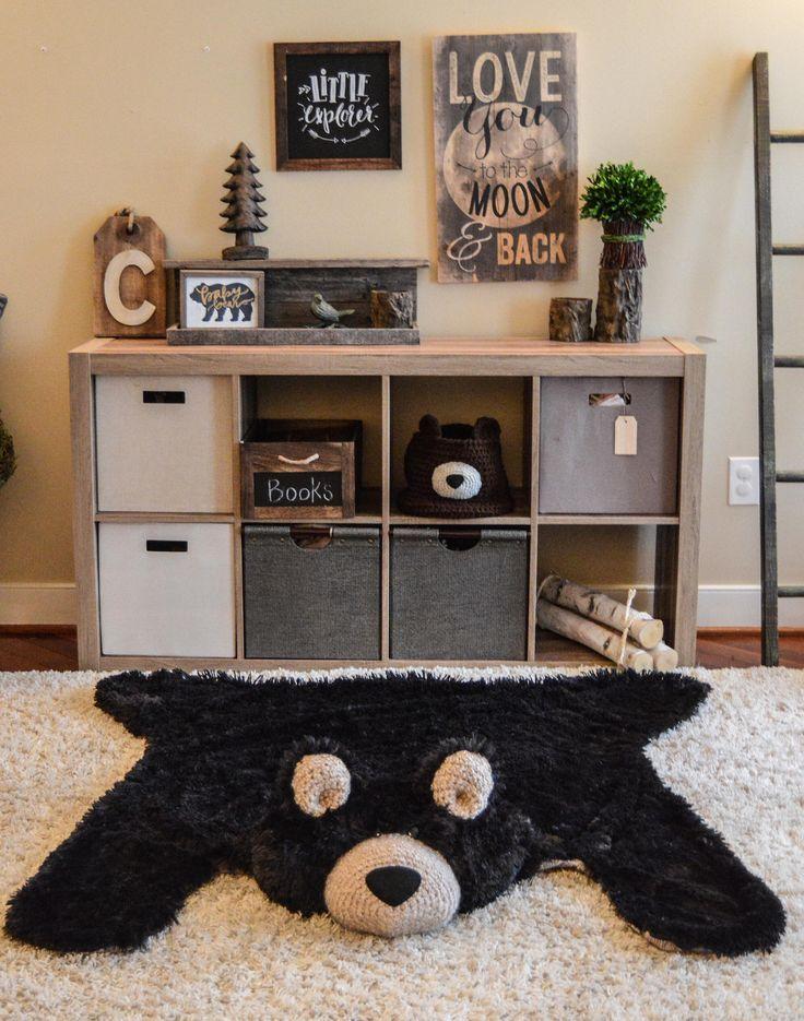 Nursery Bear Rug, regular size black Minky bear rug, Camping nursery decor  – Kinderzimmer: Themenzimmer