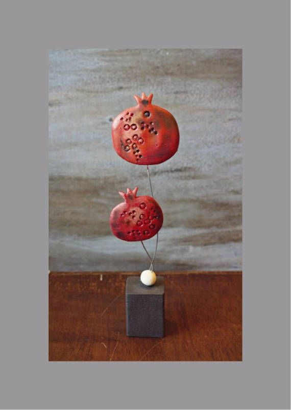 Handmade Double Ceramic Pomegranate Charm Pottery