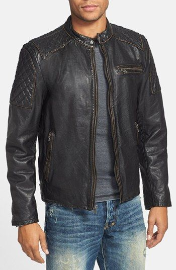 Because = men.  Woof.  Black Rivet Diamond Quilted Leather Moto Jacket | Nordstrom