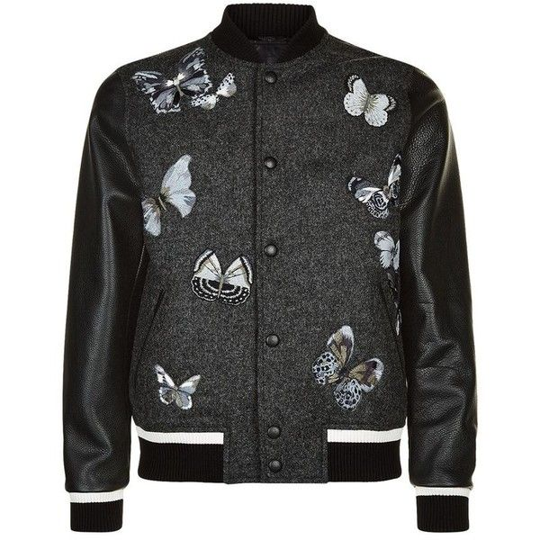Valentino Embroidered Butterfly Wool and Leather Bomber Jacket ($2,885) ❤ liked on Polyvore featuring men's fashion, men's clothing, men's outerwear, men's jackets, mens blue bomber jacket, mens leather bomber jacket, mens blue jacket, mens blue leather jacket and men's wool bomber jacket