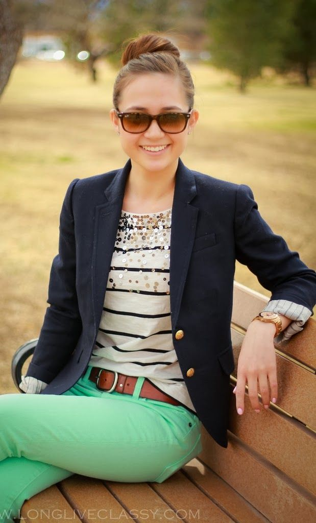 Adorable for fall navy stripes, blazer and mint jeans