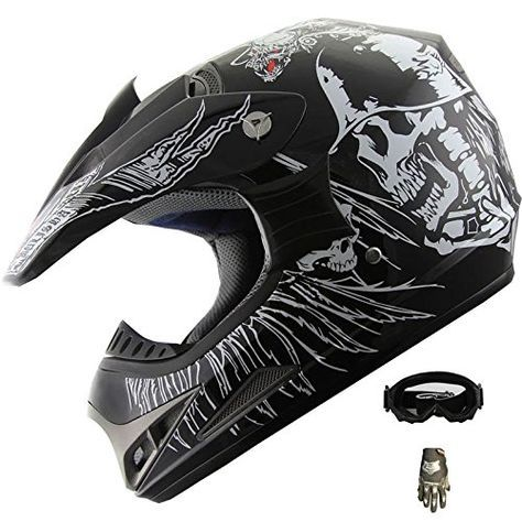 ATV Motocross Dirt Bike Motorcycle Helmet 190 Black Skull +Gloves+goggles (Med). For product info go to:  https://www.caraccessoriesonlinemarket.com/atv-motocross-dirt-bike-motorcycle-helmet-190-black-skull-glovesgoggles-med/