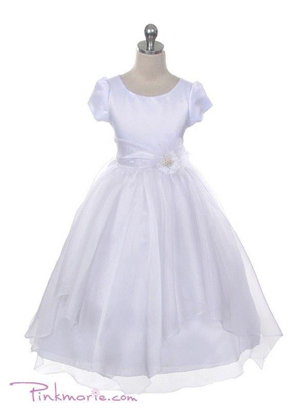 White Short Sleeve Satin Bodice with Organza Holy Communion Dress