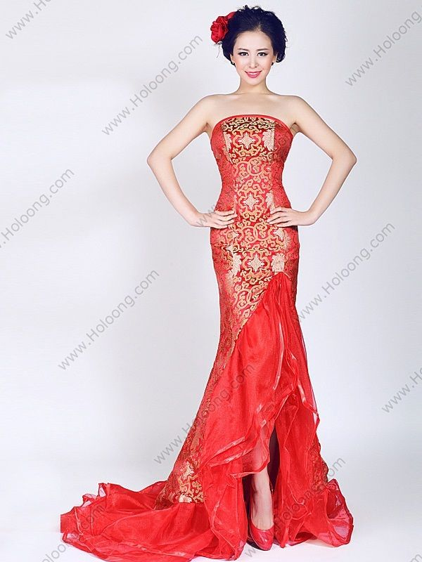 Red Mermaid Sleeveless Brocade Cheongsam Qipao Chinese Wedding Dress By AnneF