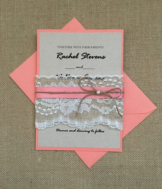 Rustic wedding invitation, coral wedding invitation, rustic coral invitation, burlap lace invitation, twine invitation, ribbon invitation