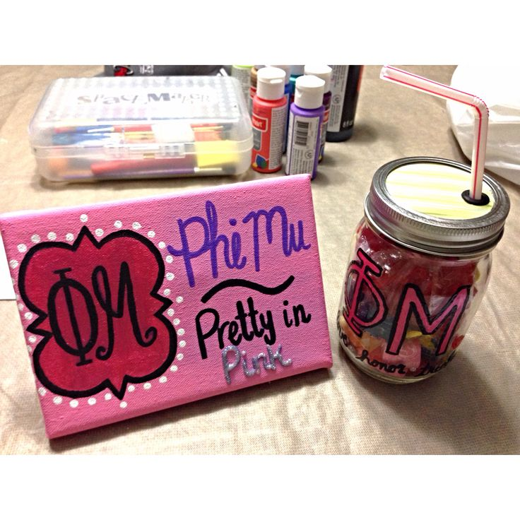 Phi Mu Crafts - canvas & mason jar cup