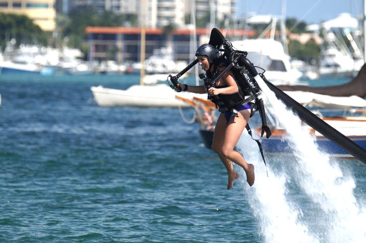 Water jetpack pilot Sarah flying around in West Palm Beach