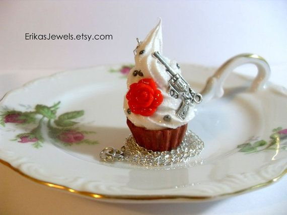 For your bad side. =) Guns and Roses Cupcake Necklace  Made to Order by ErikasJewels, $15.00