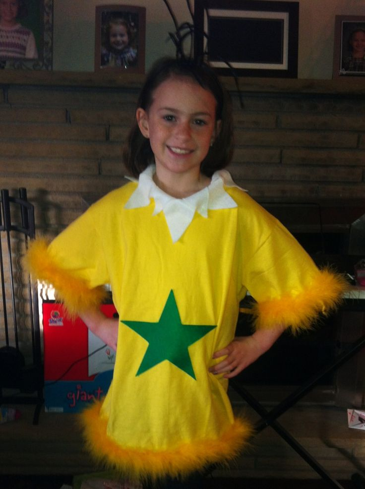 "I transformed a yellow t-shirt, with some white & green felt into a Star-bellied Sneech for Dr. Seuss' ""Read Across America Day"""