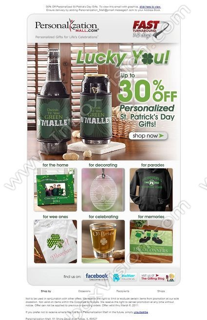 Company: PersonalizationMall.com   Subject: 30% Off Personalized St Patrick's Day Gift Sale         INBOXVISION, a global email gallery/database of 1.5 million B2C and B2B promotional email/newsletter templates, provides email design ideas and email marketing intelligence. www.inboxvision.c... #EmailMarketing  #DigitalMarketing  #EmailDesign  #EmailTemplate  #InboxVision  #SocialMedia  #EmailNewsletters