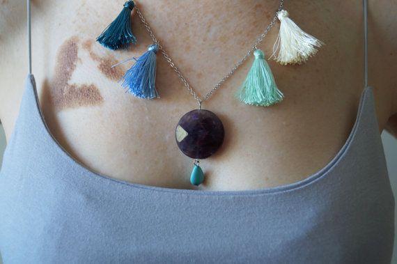 Gemstone Tassels SUMMER NECKLACE/teardrop turquoise by sestras