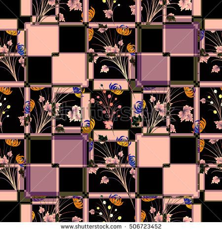 Patchwork abstract seamless floral, pattern texture black background with decorative elements. cute cartoon flowers.