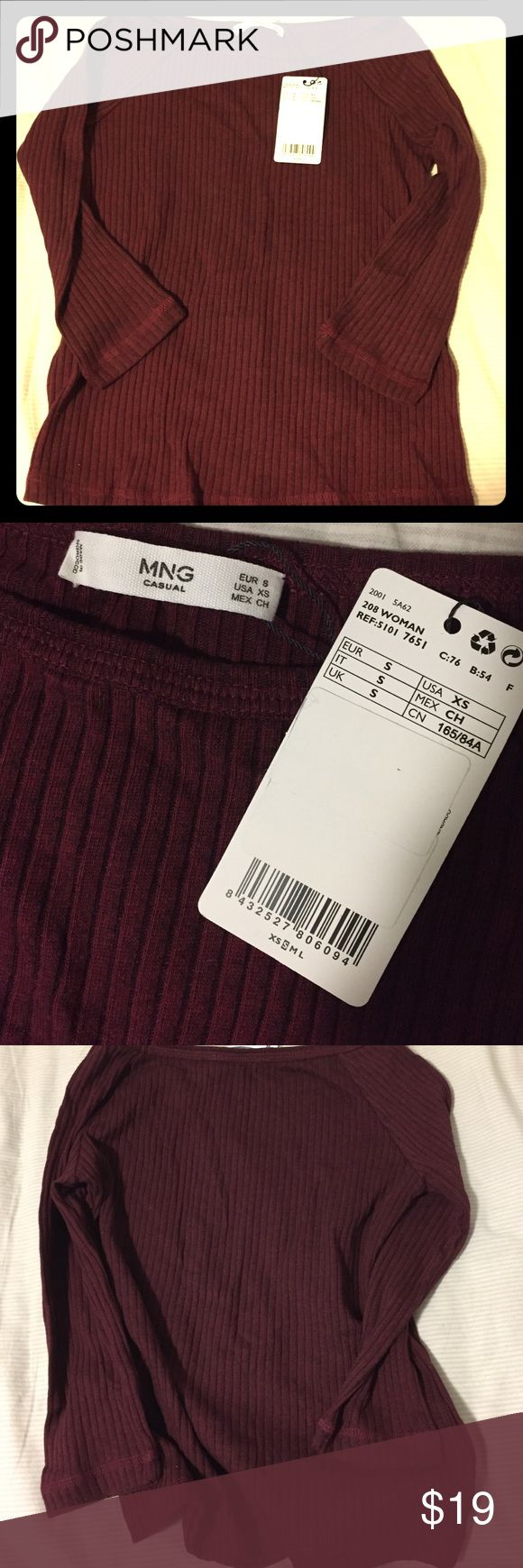 Brand new Mango top- US XS Brand new with tag, I purchased online, but doesnt fit me well, more like wine color Mango Tops