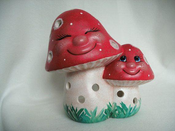 Cerámica par Mushroom linterna  1024 por selfmadecreative en Etsy, €18.00