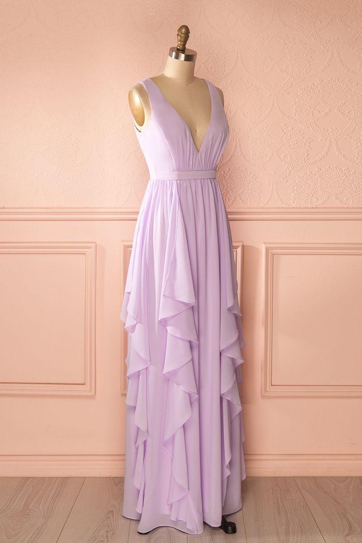 Robe longue mauve pâle voile étagé décolleté - Light purple maxi low-cut layered veil dress