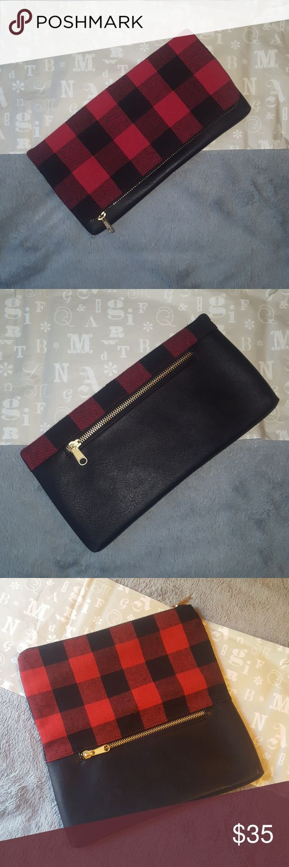 """Mark and Graham Clutch NEW Mark and Graham Buffalo Check foldover clutch. Monogram free. Gift that's still in the box.  Linen lining, vegan leather, gold zippers.  6"""" h (Folded) x 13.5"""" w x 1"""" d Mark and Graham Bags Clutches & Wristlets"""