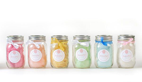 Algodão doce em potinhos para servir de lembrancinha | Petite Puf