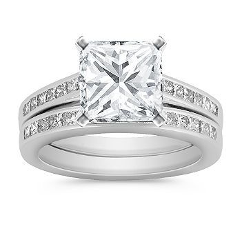 Cathedral Princess Cut Diamond Wedding Set with Channel Setting, Prettyyy!