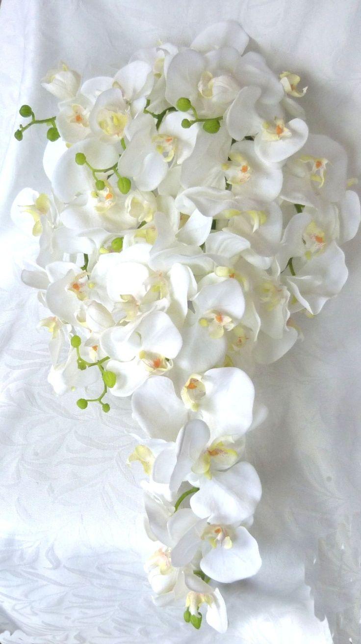 Cascade white Orchid Bouquet & Boutonniere phalaenopsis orchid bouquet tropical wedding bouquet. $95.00, via Etsy.