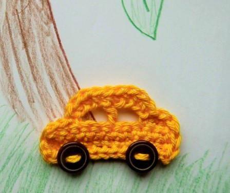 Háčkované autíčko, car applique crochet pattern