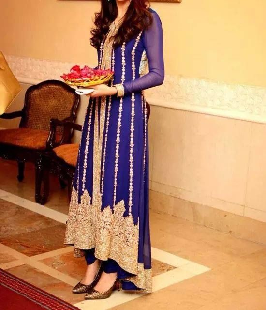 Beautiful royal blue suit, high low layout of the suit, and beautiful designs on it as well, this is definitely more a fancy wear for special occasions.
