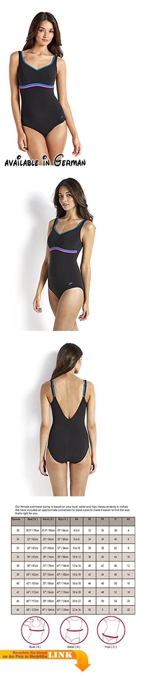Speedo Damen Badeanzug Sculpture Contourluxe, Schwarz (Black/Blue/Diva), 38 (Herstellergröße: 34), 8-10417A71734. Formt und glättet - die weichen, formenden Stoffe schmiegen sich an die Bauch- und Hüftpartie und schaffen eine schlanke Silhouette. Schlankmachend - das farblich abgesetzte Band unter der Brust und der V-Ausschnitt geben dem Busen sanft Kontur und lenkt die Blicke nach oben, sodass Dein Körper optisch länger und schlanker wirkt. Bequem - verstellbare Träger